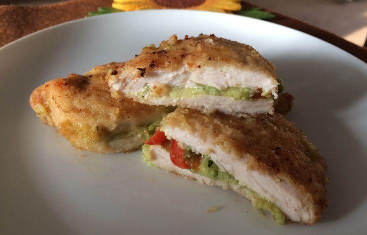 Delicious and tasty chicken cordon bleu stuffed with zucchini pesto, cherry tomatoes and mozzarella!