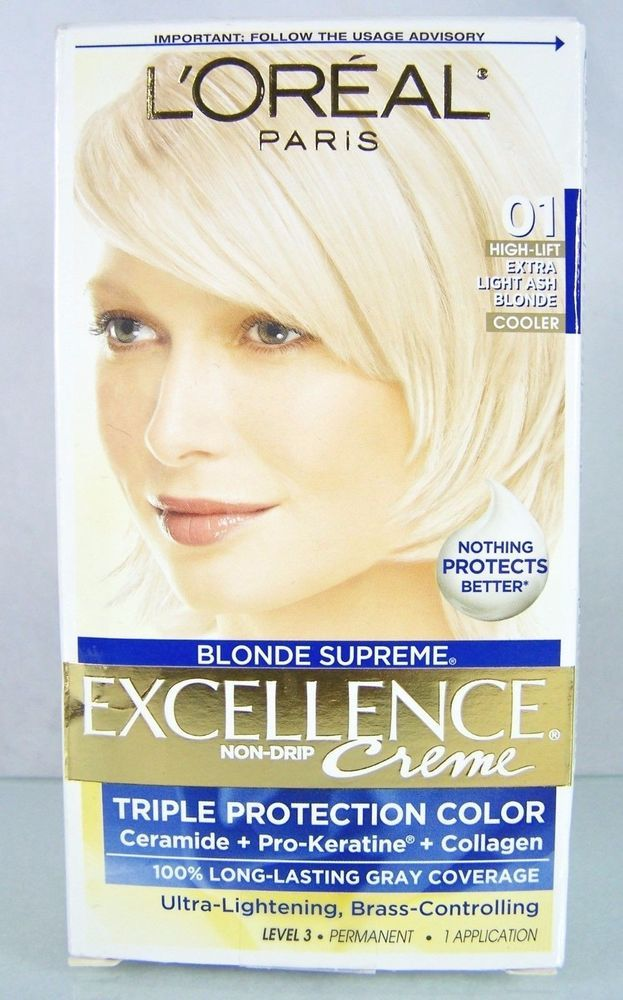 #LOreal Paris Excellence #Blonde Supreme Extra Light Ash #Blond shade 01 #haircolor with Anti-Brass #Conditioner #cream crème non-drip formula and long-lasting gray coverage in one (1) single application of #bold #prismatic #light #blonde #hair #color dye, brand new and unused in original manufacturer's retail protective factory sealed cardboard box packaging…