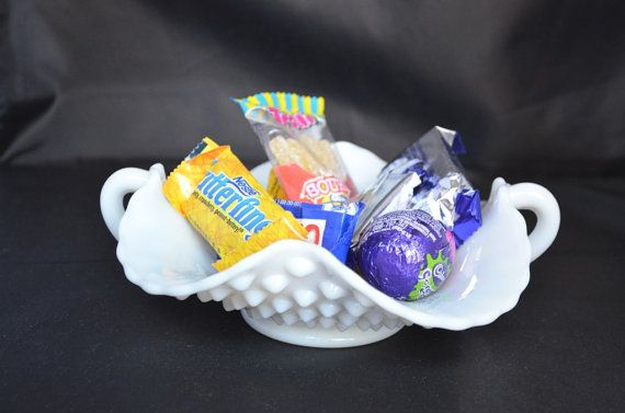 Vintage Hobnail Candy Dish Handled Milk Glass Dish by FarahsAttic, $10.00