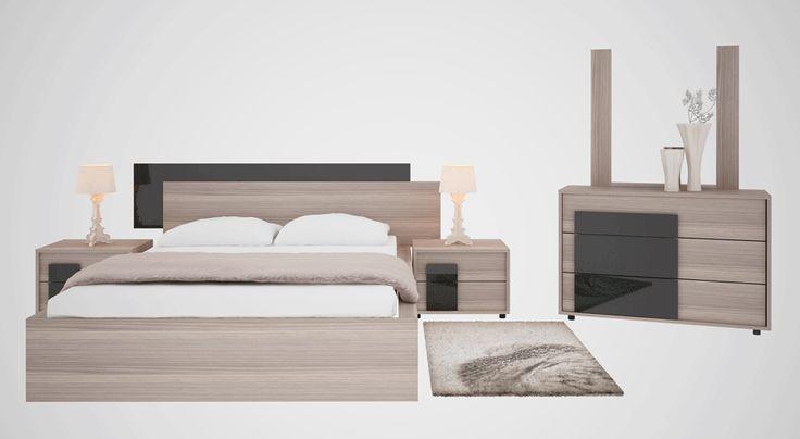 Κρεβατοκάμαρα Μιράντα με στρώμα και πολλές επιλογές σε αποχρώσεις. Κρεβάτι: 221x 207cm (στρώμα 150x 198cm) Κομοδίνο:60×43 cm, Συρταριέρα: 120 x45cm Διαθέσιμο σε καρυδί και σταχτί απόχρωση με πολλές επιλογές στις διακοσμητικές λάκες.