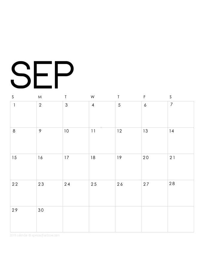 Printable September 2019 Calendar Monthly Planner 2 Designs