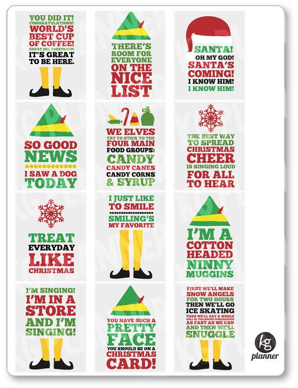 Elf Quote Full Box Planner Stickers - Planner Penny