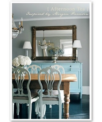 Farm table white chairs light blue buffet crystal chandelier and gold mirror home decor - Light blue dining table ...