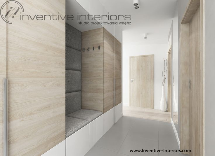 Projekt przedpokoju Inventive Interiors - nowoczesny jasny przedpokój z zabudową meblową