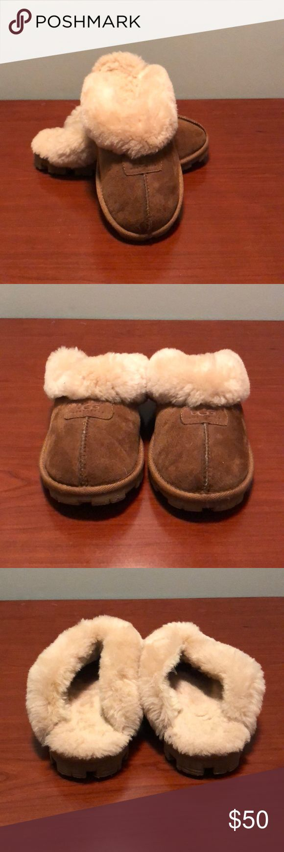 UGG Sueded Sheepskin Slippers Size 5 Previously loved UGG Sueded Sheepskin Slippers Size 5. Warm and comfy. Can be worn outside or inside. Plenty of life left in these beauties! UGG Shoes Slippers