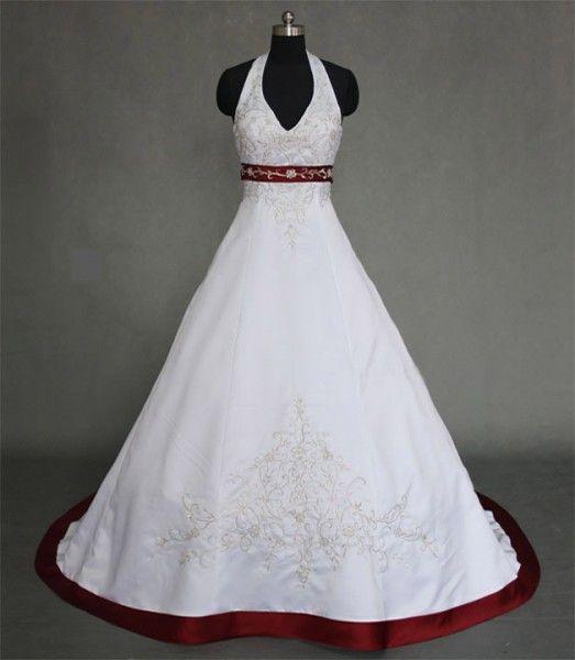 """Perfektes Hochzeitskleid für eine Hochzeit in weiss-rot: Das Brautkleid """"Leonie"""" könnte aus einem Märchen stammen! Neckholder-Oberteil ✓ Breiter, roter Gürtel aus Satin ✓ rote Schleppe & Rock  www.schmetterling-brautkleid.de"""