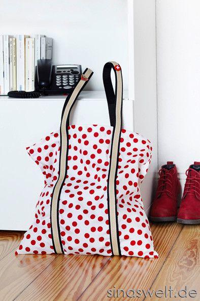 Einkaufsbeutel aus Kissenbezug (eventuell für mehr Stabilität innen 2. Stoff; alte Gürtel für die Henkel?!?)