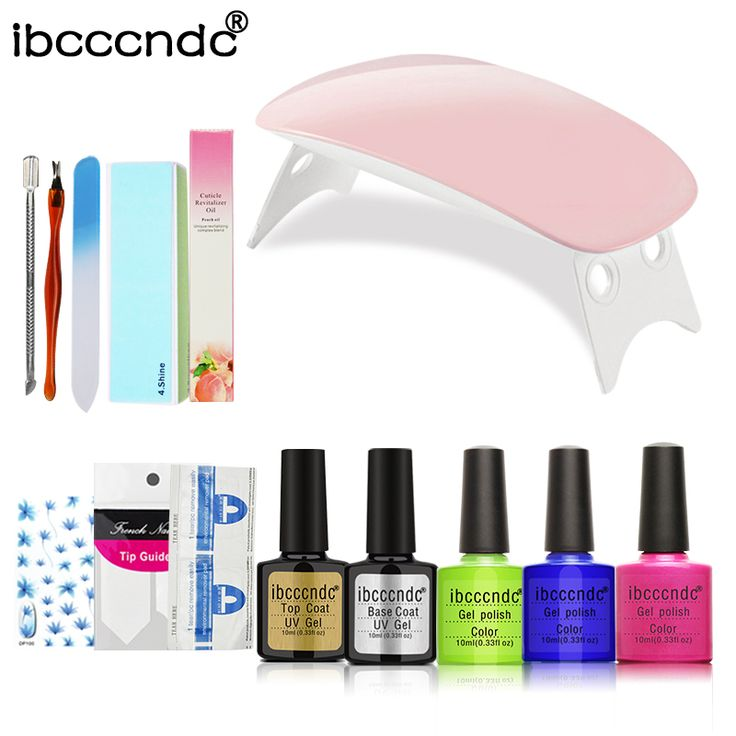 ==> [Free Shipping] Buy Best Mini 6W LED Lamp & 3 Colors Nail Gel Polish Nail Art Set Base Top Coat Polish Varnish Remover Manicure Tools Nail Stickers Kit Online with LOWEST Price | 32827590557