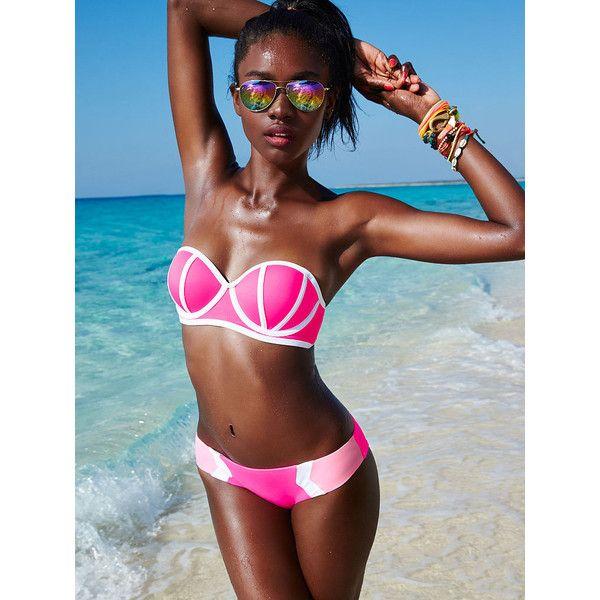 PINK Push-Up Bandeau (€26) ❤ liked on Polyvore featuring swimwear, grey, push up bandeau bikini top, padded bandeau bikini, underwire bikini top, halter bikini and pink bikini
