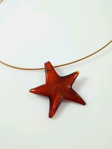 Orange Rust Wire Necklace with Star Pendant Women's