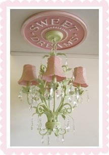 Ceiling Medallion in sweet dreams design. Shown in distressed pink