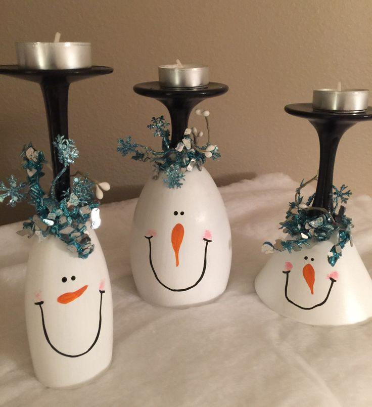 Christmas wine glass candle holders Snowman wine glasses Snowmen Christmas decorations Christmas mantle decor Blue and Silver Winter decor by DebDebsCrafts on Etsy https://www.etsy.com/listing/484673453/christmas-wine-glass-candle-holders