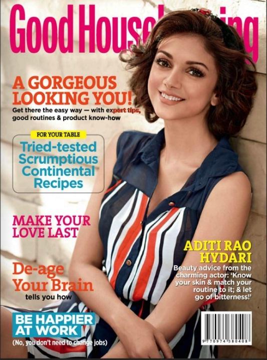 Aditi Rao Hydari on The Cover of Good Housekeeping Magazine - April 2013.