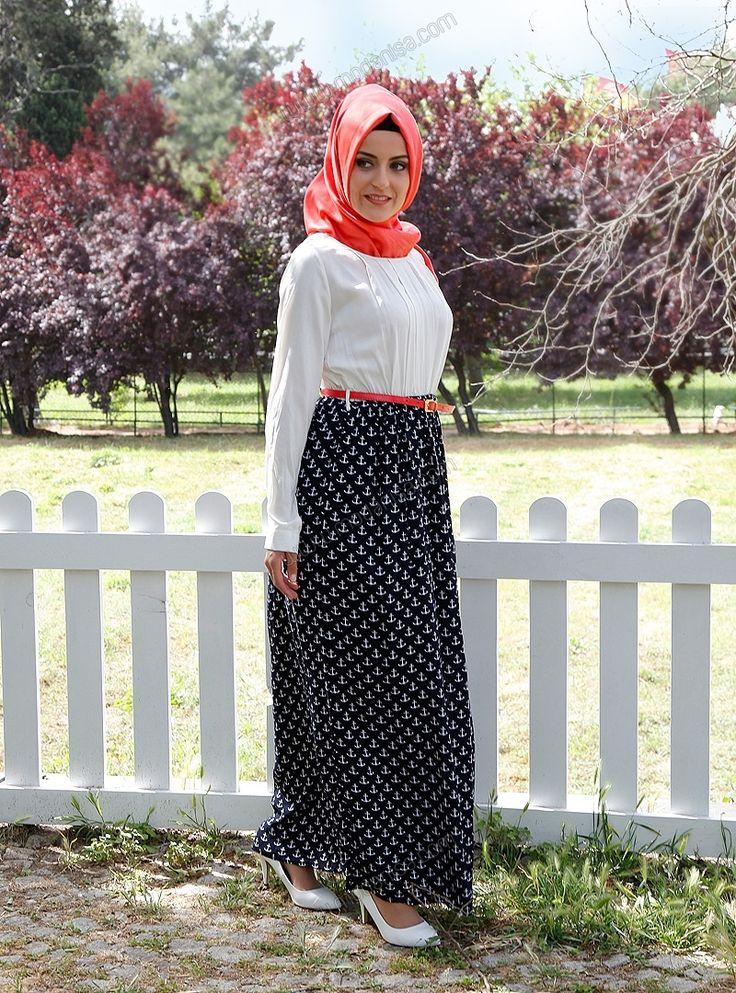 Çapa Desenli Kemerli Elbise 5121 - Lacivert - Tavin