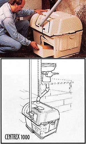 Shelter Institute - Sunmar Centrex 1000 Composting Toilet - A central composting system is ideal for those who want to have a traditional looking toilet (or toilets) in the bathroom, and can place the Central unit below the toilet.
