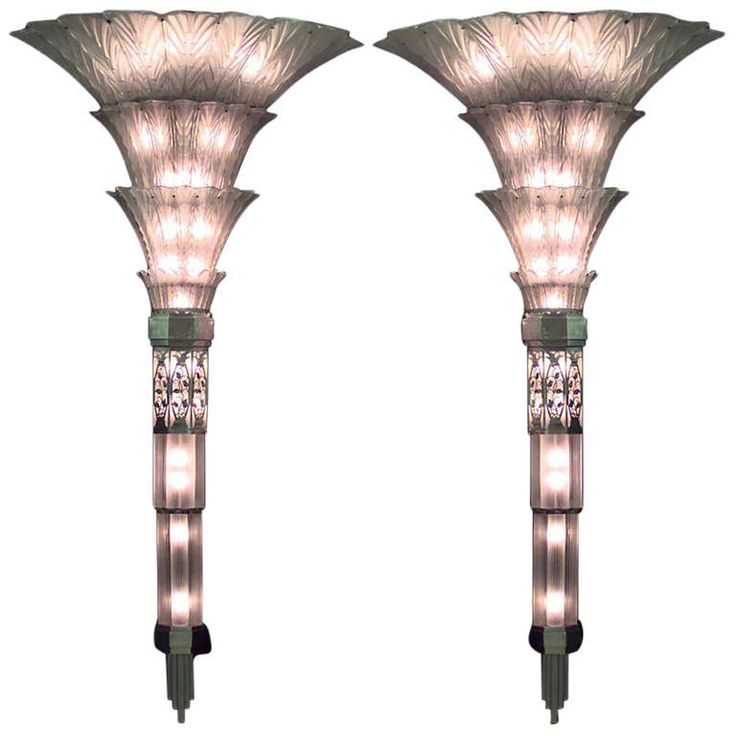 Monumental Pair of French Art Deco Glass Sconces by Sabino | From a unique collection of antique and modern wall lights and sconces at http://www.1stdibs.com/furniture/lighting/sconces-wall-lights/