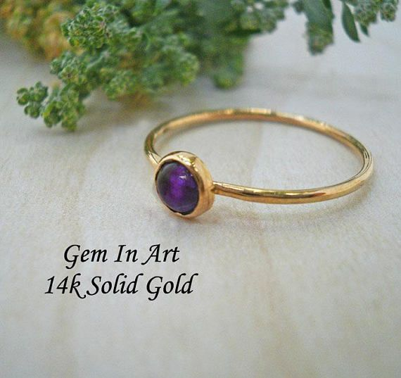 Amethyst Gold stacking Ring14K Solid Gold Stacking RingGold