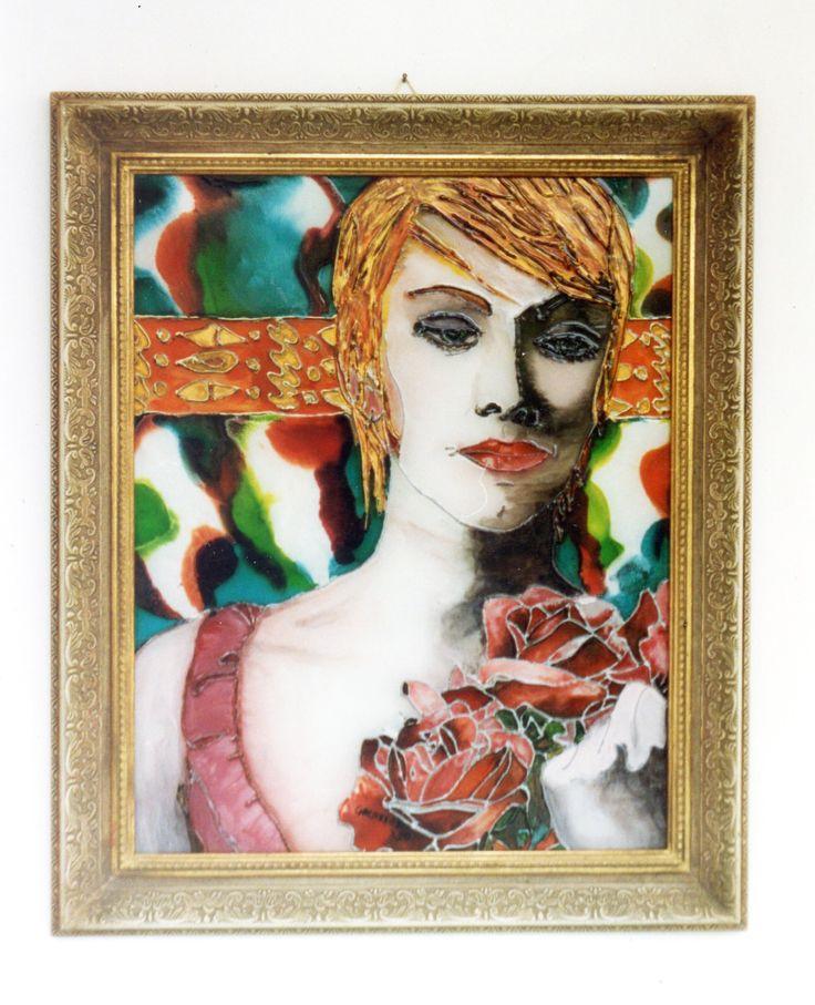 Dipinto a mano su vetro - cm 40x cm 50 - pezzo unico