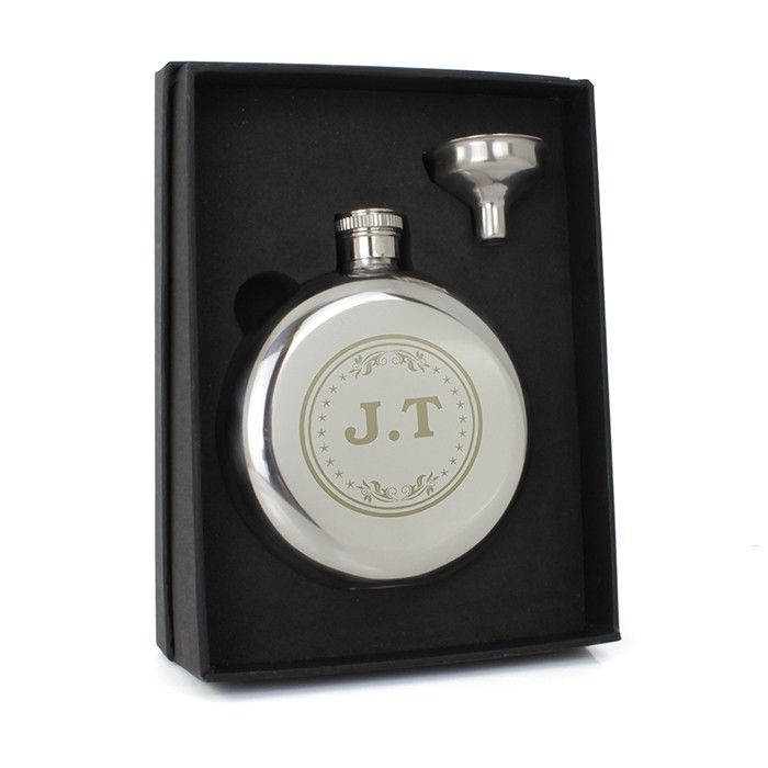 Engraved Monogram Round Hipflask - Birthday - For Him