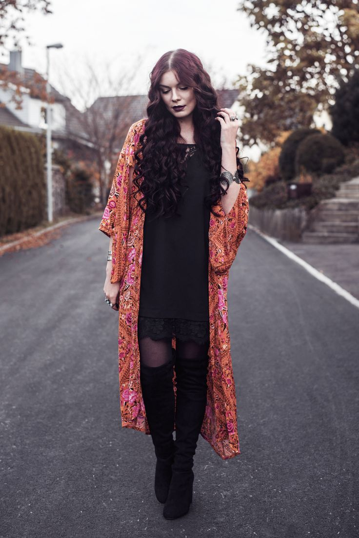 Selina | Picture taken with self timer for one of my outfit posts wearing Spell Designs Babushka Maxi Kimono | Moonlight Bohemian