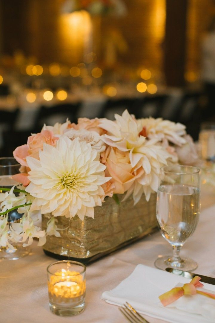 Romantic rose gold seattle wedding centerpiece