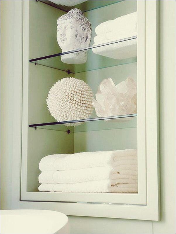 Handtuch Aufbewahrung 24 Ideen Fur Ein Badezimmer Bad Deko Einbauregale Badezimmer Aufbewahrung Glasregal