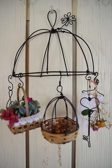 ワイヤークラフト壁掛け飾り*ミニ鳥かご:* hanna original *