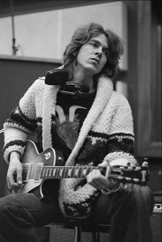 """English guitarist Mick Taylor of the Rolling Stones during the recording's of Herbie Mann's """"London Underground"""" album, c. 1973"""