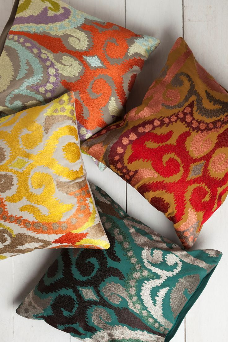 Colorful Ikat pattern Ara pillows from Surya!