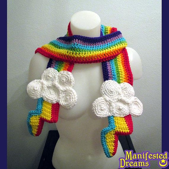 Rainbow Scarf Clouds - Inspired by Rainbow Dash Cutie Mark - My Little Pony - Crochet