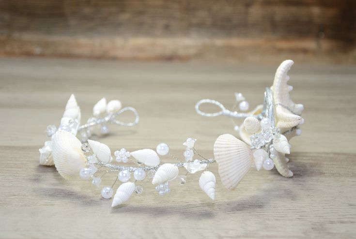 Beach Wedding Crown Starfish Seashells Mermaid Crown Nautical Wedding Headpiece Destination Wedding Headband Starfish tiara rustic Ariel by PrettyNatali on Etsy  #seashellcrown #mermaidcrown #beachwedding #beachbride #starfish #seashells