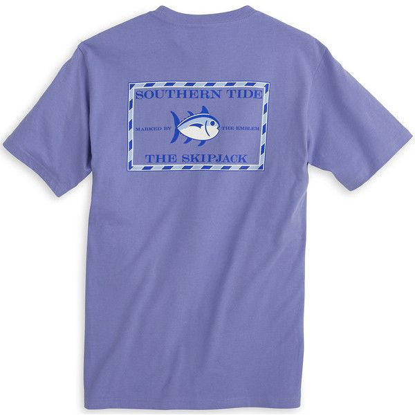Original Skipjack Tee Shirt in Lavender by Southern Tide ($38) ❤ liked on Polyvore featuring tops, t-shirts, blue t shirt, lavender t shirt, preppy t shirts, southern tide and lavender top