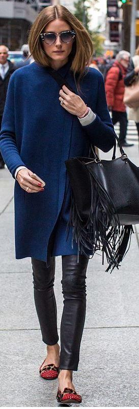 Olivia Palermo: Coat – Inhabit purse – CH Carolina Herrera