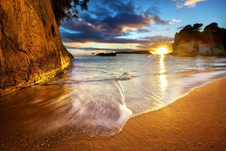 Cathedral Cove Beach Sunrise Starburst - New Zealand