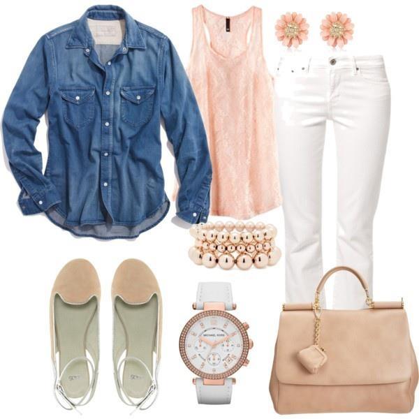 camisa de mezclilla, blusa rosa, jeans blancos, flats rosas,reloj blanco, brazelete rosa, aretes de flor, bolso rosa - #outfit para iniciar el mes