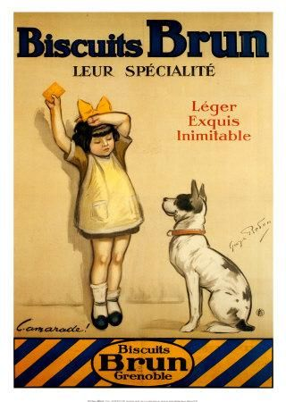 ¤ Biscuits BRUN Grenoble. Léger,  exquis, inimitable. Affiche par George Redon…