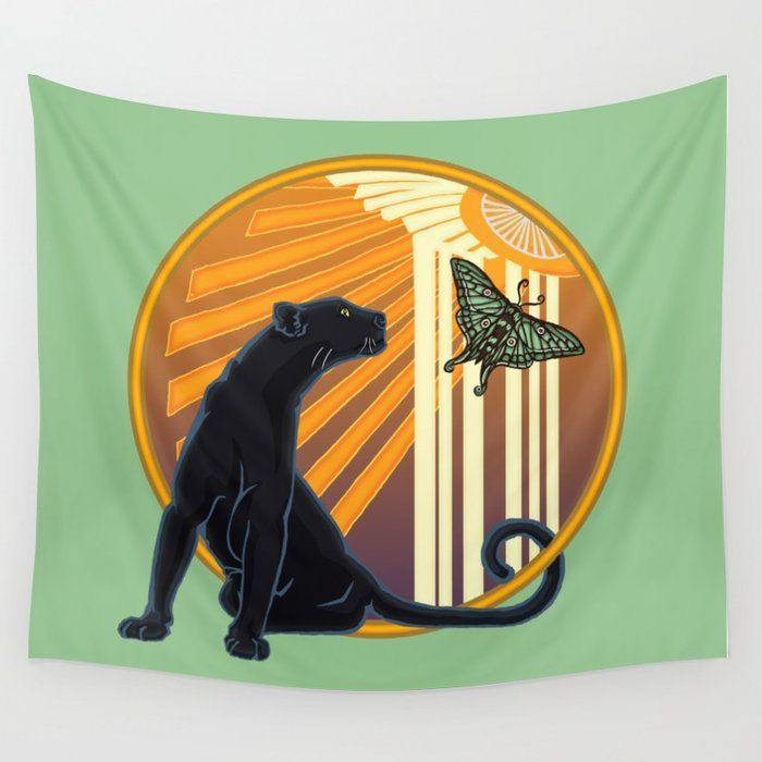 Jaguar Plain Art Deco Wall Tapestry Tapestry Wall Deco Wall Tapestry