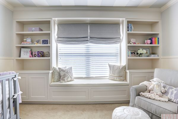 Baby Girl's Lavender Nursery with built-in bookcase and bench seat | Honey We're Home