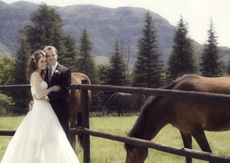 The mountains, horses feeding nearby, a beautiful couple…I dare you not to take a good photo.