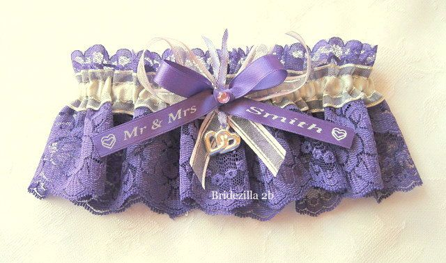 Purple Lace & Silver Satin Personalised by PersonalisedGarters, $28.00
