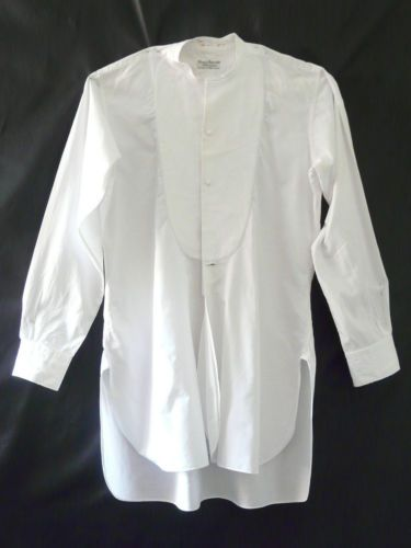 Vintage edwardian gents mens white dress shirt collarless for Men s classic dress shirts