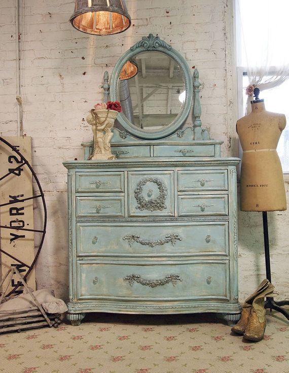 Wonderful Painted Cottage Chic Shabby Aqua Romantic Dresser CH15
