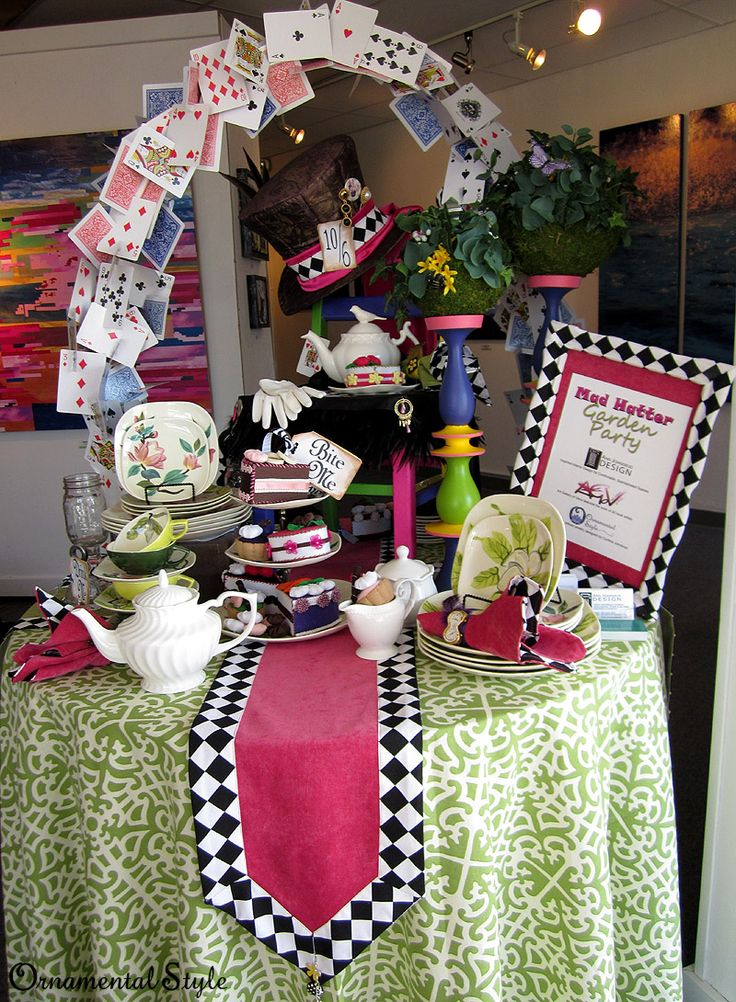 mad hatter teparty invitations pinterest%0A Amazingly cool playing card arch for a Mad Hatter tea party  I LOVE this