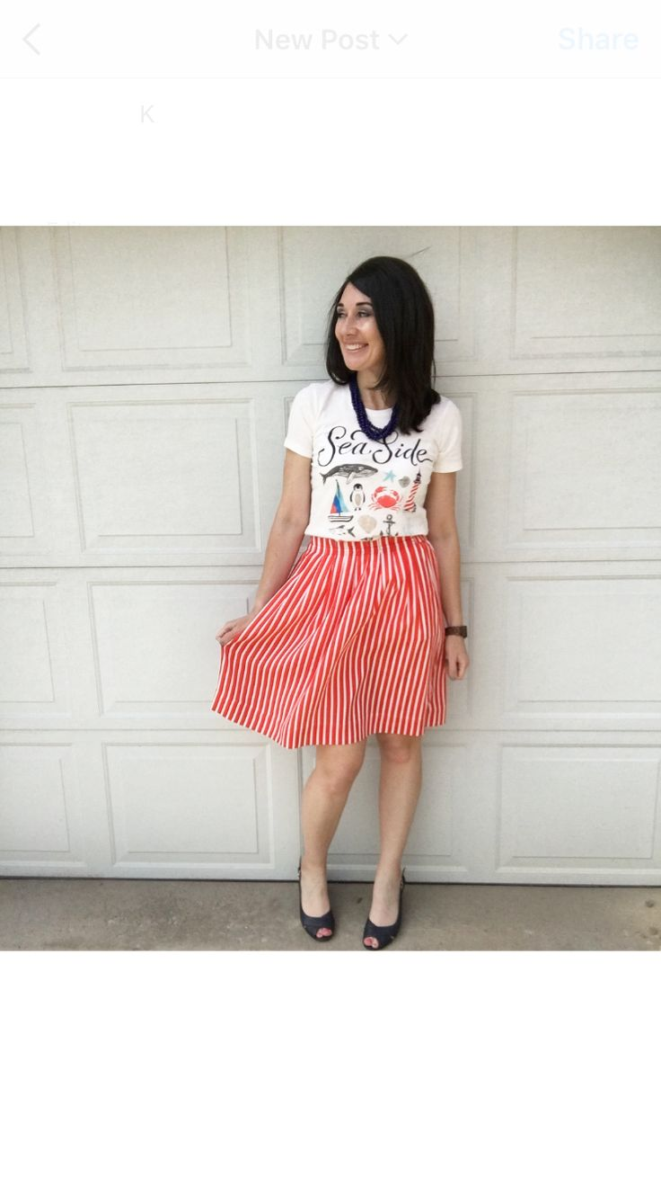 Nautical tee, red stripped skirt, and navy sandals