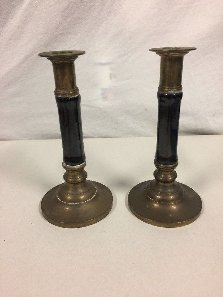"Pair OfVintage Brass With Black Candle Holders 7 1/2"" Tall  