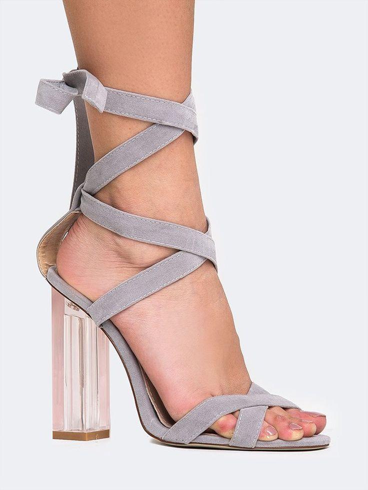 Clear Heel Lace Up Sandal - ZOOSHOO