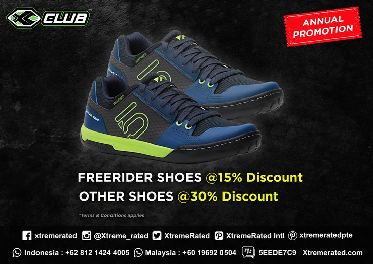 Annual Promotion Get 15% discount for Five Ten Freerider Shoes and 30% discount for other Five Ten shoes Available in all XCLUB leading stores  #xtremerated #xclub #fiveten #freerider #shoes