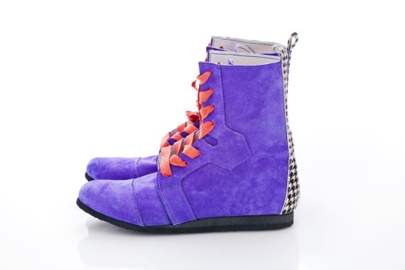 Lace Up boots   Purple Suede Leather by Pleasemachine