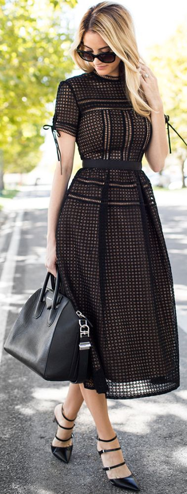 Blackout Eyelet Midi Dress Fall Inspo by Ivory Lane