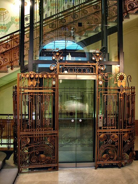 Hotel Central, Prague--ok, it's an elevator, but it's very cool (and I don't have an elevator board) #hotelinteriordesigns